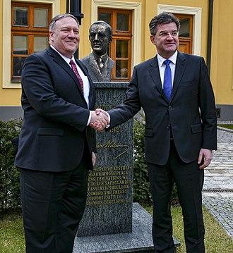 Miroslav Lajčák - Lajčák (right) with US Secretary of State Mike Pompeo in February 2019