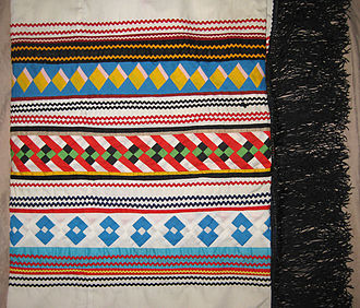 Big Cypress Indian Reservation - Seminole patchwork shawl made by Susie Cypress from Big Cypress Indian Reservation, ca. 1980s