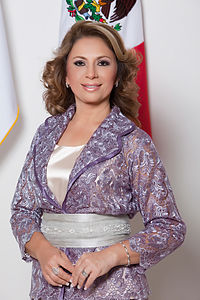 Angelica Araujo in Merida's Convention Center.
