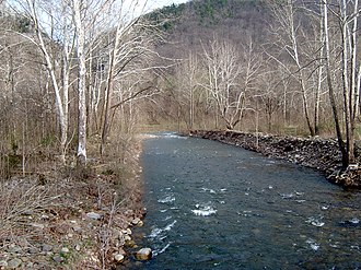 Allegheny Front - Seneca Creek, incised into the Allegheny Front west of Seneca Rocks, West Virginia. This short but steep creek originates along the Eastern Continental Divide; its waters flow into the Atlantic Ocean via the Potomac River and Chesapeake Bay.