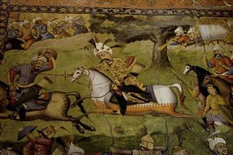 Military history of Iran - A painting on the wall of the Chel-Sooton Palace in Isfahan of Shah Abbas at war