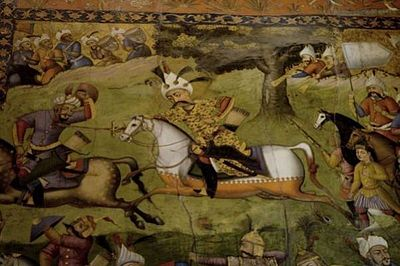 A painting on the wall of the Chel-Sooton Palace in Isfahan of Shah Abbas at war Shah Abbas Chel Soutoon.jpg