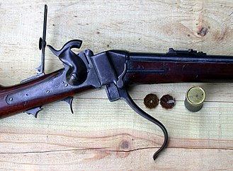 "Sharps rifle - Sharps Model 1852 ""Slanting Breech"" Carbine, open for loading, two primer-tapes"