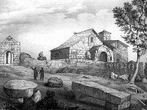 Shemokmedi Monastery - The Shemokmedi monastery in an illustration from Marie-Frédéric Dubois de Montpéreux's travelogue in the 1830s.