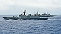 Ships from the Indian navy, Japan Maritime Self-Defense Force and U.S. Navy are underway together during a group sail signifying the end of Malabar 2016.jpg