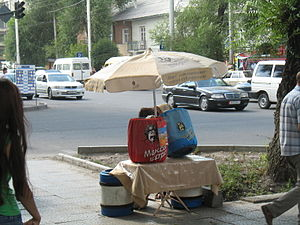 Shoro (company) - Shoro products being sold on a corner in downtown Bishkek.