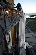 Shuttle Endeavour on launchpad