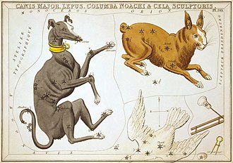 Canis Major - Canis Major as depicted in Urania's Mirror, a set of constellation cards published in London c.1825. Next to it are Lepus and Columba (partly cut off).