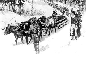"Siege of Boston - Henry Knox bringing his ""noble train"" of artillery to Cambridge"