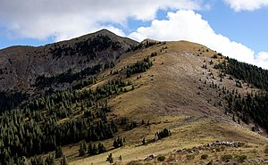 Sierra Blanca (New Mexico) - The primary route to the summit follows the ridge at right