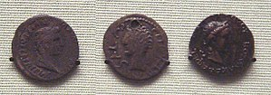 Indo-Roman trade relations - Silver denarius of Tiberius (14–37 CE) found in India. Indian copy of the same, 1st century CE. Coin of Kushan king Kujula Kadphises copying a coin of Augustus.