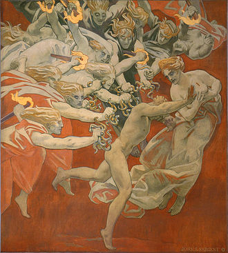 Guilt (law) - Orestes Pursued by the Furies, by John Singer Sargent. 1921. The erinyes represent the guilt for murdering his mother.