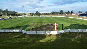 South Coast United SC - Panoramic of the freshly cut grass / grandstand at Sir Ian McLennan Park, Kembla Grange