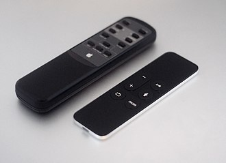 Remote control - Macintosh TV remote next to  Apple's 4th generation Apple TV remote