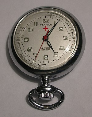 "New Latin - This pocket watch made for the medical community has Latin instructions for measuring a patient's pulse rate on its dial: enumeras ad XX pulsus, ""you count to 20 beats""."