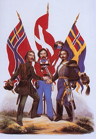 Scandinavism - A 19th-century poster image of (from left to right) Norwegian, Danish and Swedish soldiers joining hands