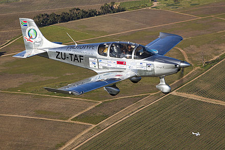 The prototype Sling 4 Light Sport Aircraft on arrival at Stellenbosch, Western Cape, South Africa Sling 4 Light Sport Aircraft.jpg