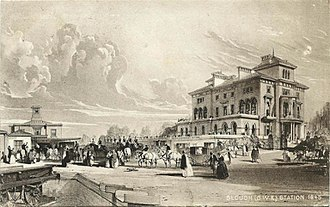 Slough railway station - Slough station (left) in 1845