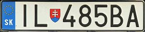 Vehicle registration plates of Slovakia - An example of Slovak car registration plate after entry of Slovakia to the EU with coats of arms - IL stands for Ilava District