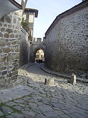 Cobblestone street in the Old Town of Plovdiv