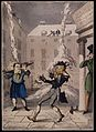 Snow is falling on to a man in the street as it is being shovelled off the roof-tops. Wellcome V0040777.jpg