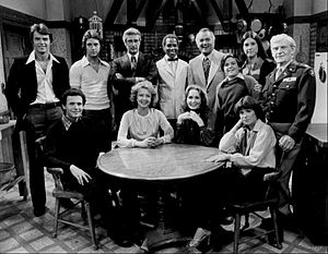 Ted Wass - Cast of Soap (1977). Back row, L-R: Robert Urich, Ted Wass, Richard Mulligan, Robert Guillaume, Robert Mandan, Jimmy Baio, Diana Canova, Arthur Peterson Jr.. Seated: Billy Crystal, Cathryn Damon, Katherine Helmond, Jennifer Salt.