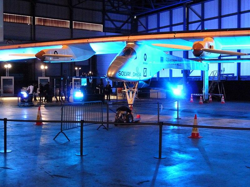 Solar Impulse (HB-SIA) à l'aéroport de Bruxelles-National (Zaventem), Belgique, le 25 mai 2011.