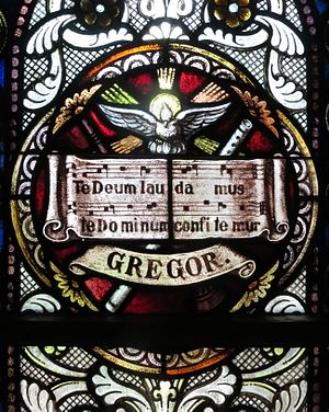 Te Deum - Te Deum on a stained glass window in the Sorrowful Mother Shrine Chapel (Bellevue, Ohio)