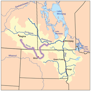 2011 Souris River flood - The Red River drainage basin, with the Souris River highlighted