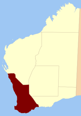 South West Land Division - Location in Western Australia