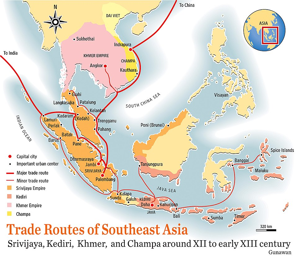 Southeast Asia trade route map XIIcentury