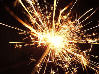 Spark (fire) - Sparks from a pyrotechnic sparkler.