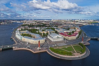 Old Saint Petersburg Stock Exchange and Rostral Columns - The Old Saint Petersburg Stock Exchange and Rostral Columns, aerial view