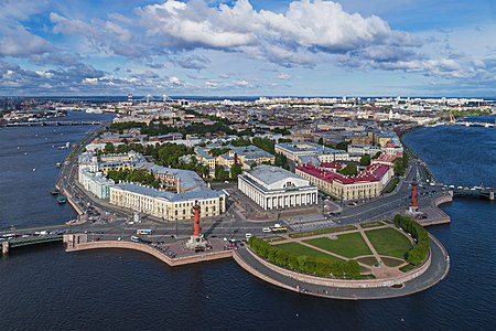 Aerial photo of the Vasilievsky Island in Saint Petersburg, Russia. In the foreground: ensemble of the Spit of Vasilievsky Island.