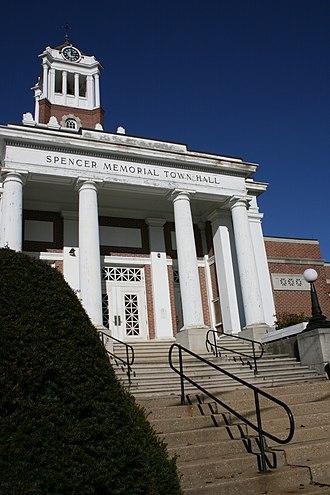 Spencer, Massachusetts - Spencer's Memorial Town Hall, on Main Street at Maple Street.