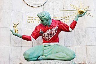 The Spirit of Detroit - The statue wearing a Detroit Red Wings sweater during the 2009 Stanley Cup playoffs