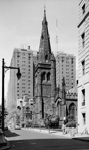 John Notman - St. Mark's Locust Street, Philadelphia (1849). Tower completed by George Hewitt (1865).