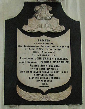 Prince of Wales's Leinster Regiment (Royal Canadians) - A memorial plaque of the Leinster Regt in St Peter's Church, Fort William, Kolkata.