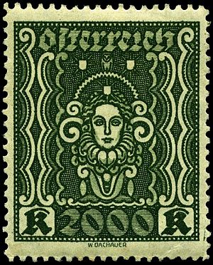 """Postage stamps and postal history of Austria - 2000 kroner of 1922 """"Art and Science"""" design"""