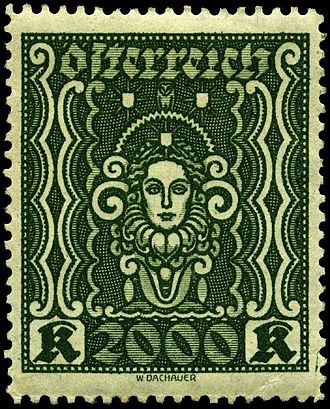 "Postage stamps and postal history of Austria - 2000 kroner of 1922 ""Art and Science"" design"