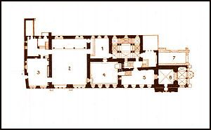 Old Town Hall (Prague) - LEGEND TO THE SECOND-FLOOR PLAN OF THE OLD TOWN HALL: 1.Entrance Hall, 2.Session Chamber, 3.Jiřík Hall, 4.Old Council Chamber, 5.Public Hall, 6.Town Hall Chapel, 7.Torso of destroyed East Wing
