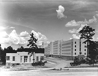 Booneville, Arkansas - Sanatorium administration on the left and Nyberg Building on the right