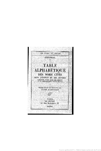 File:Stendhal - Table alphabétique des noms cités, I, 1937, éd. Martineau.djvu