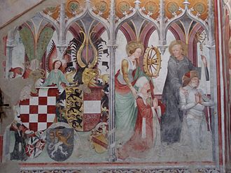 Saint Paul's Abbey, Lavanttal - Engelbert of Spanheim and his wife Hedwig (kneeling) with Sts Catherine and  Benedict of Nursia, 1493 fresco