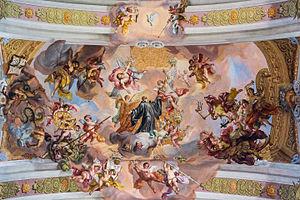 Stiftskirche Melk Deckenfresko Langhaus Mittelfeld.JPG
