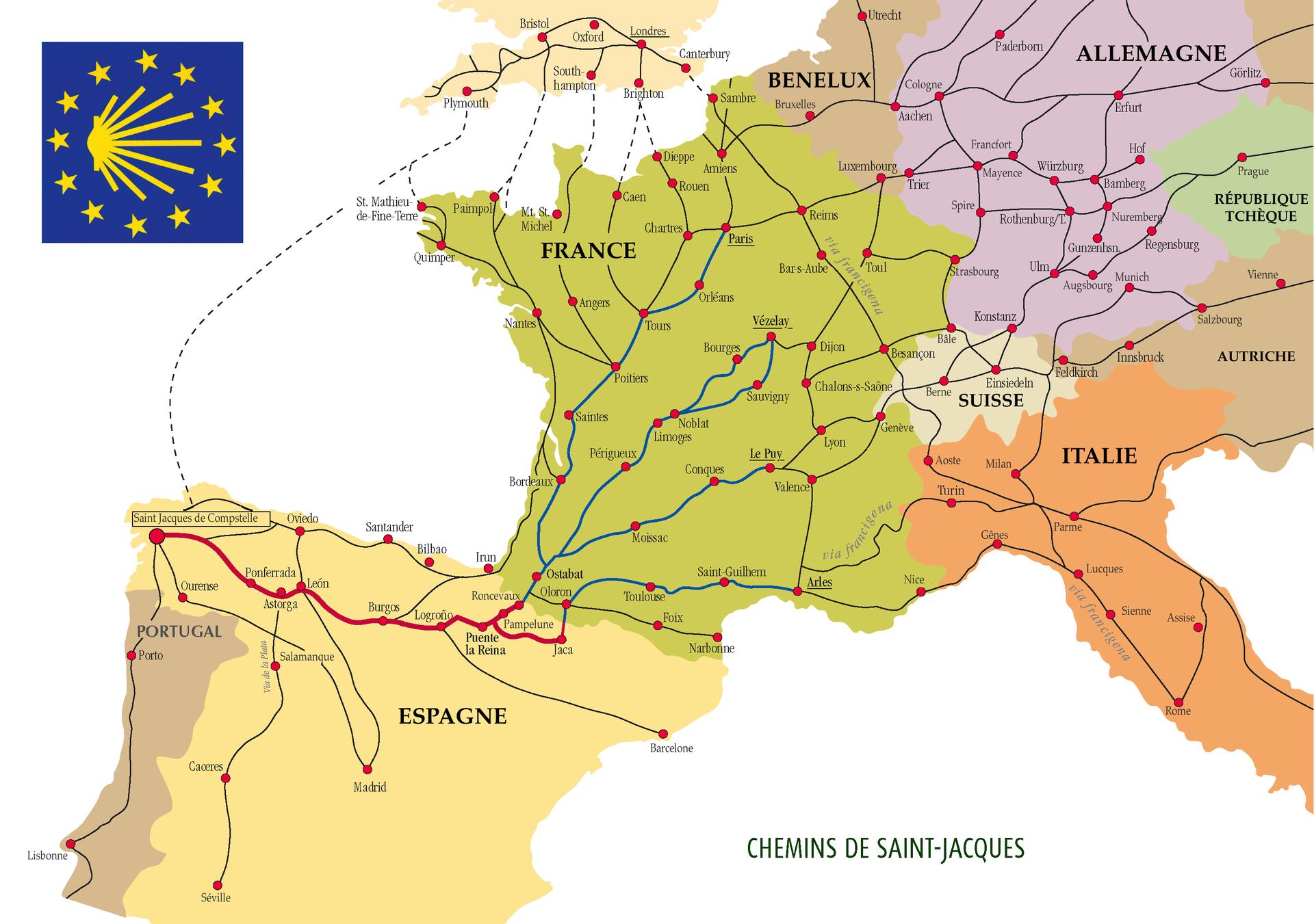 Карта средневековых дорог св. Иакова - Паломнический маршрут в Сантьяго де Компостела (путь св. Иакова)