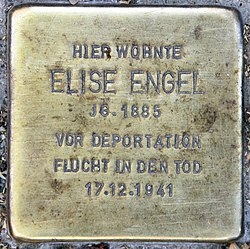 Photo of Elise Engel brass plaque