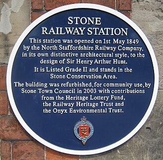 Stone railway station - Image: Stone railway station plaque