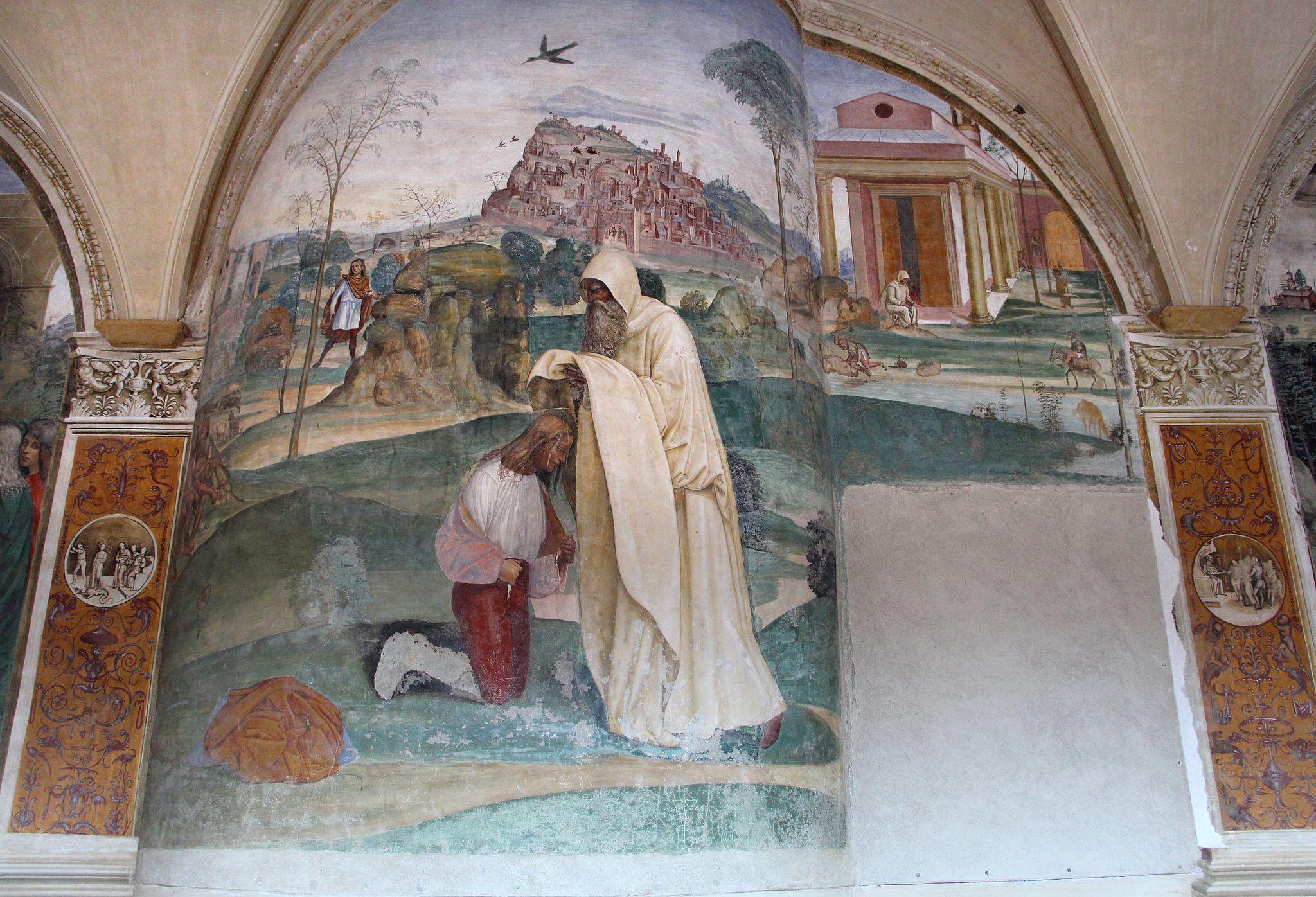Storie di s. benedetto, 04 sodoma - Come Romano monaco da lo abito eremitico a Benedetto 01