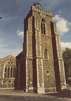 Church of St Peter and St Mary, Stowmarket - Tower in 1986, showing spire stump